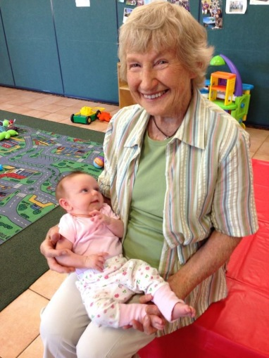 Rene with baby Ella at our Intergenerational Playgroup 4 years ago!